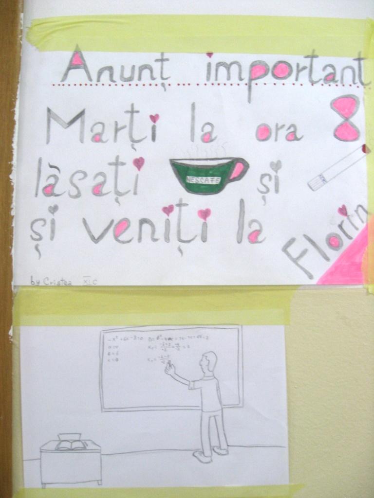 Anuntul de pregatire la mate - Liceul Tehnologic Mecanica Fina Bucuresti